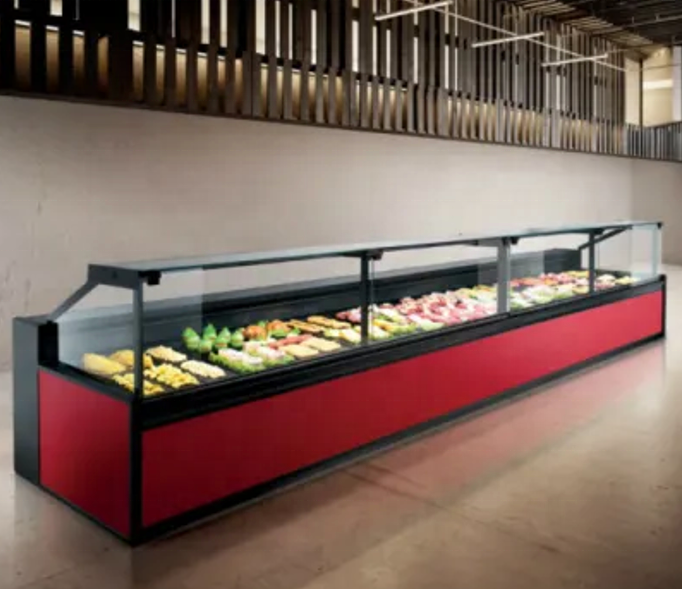 Square glass deli and fresh meat display cooler