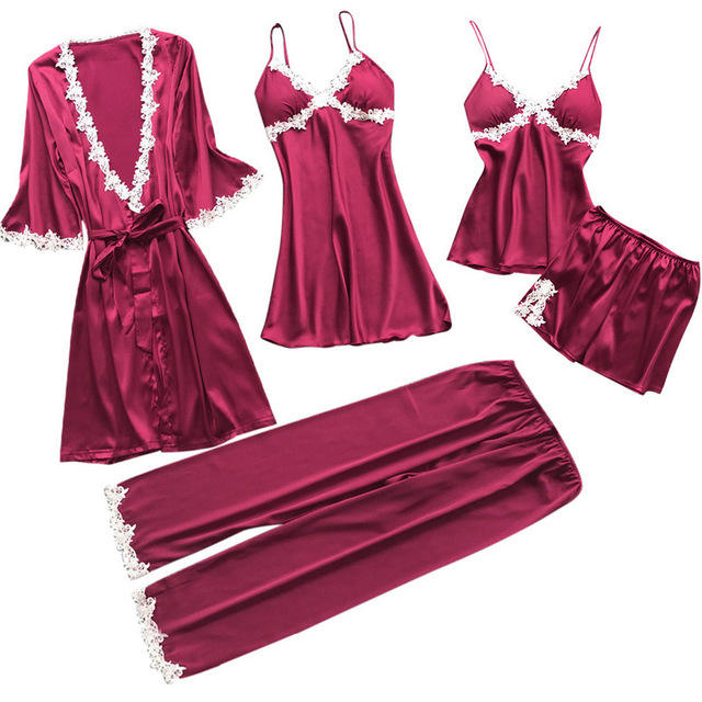 Sexy Women's Robe & Gown Sets Lace Bathrobe + Night Dress 5 Five Pieces Sleepwear Womens Sleep Set Faux Silk Robe Femme