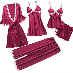 Sexy Women's Robe & Gown Sets Lace Bathrobe + Night Dress 5 Five Pieces Sleepwear Womens Sleep Set Faux Silk Robe Femme