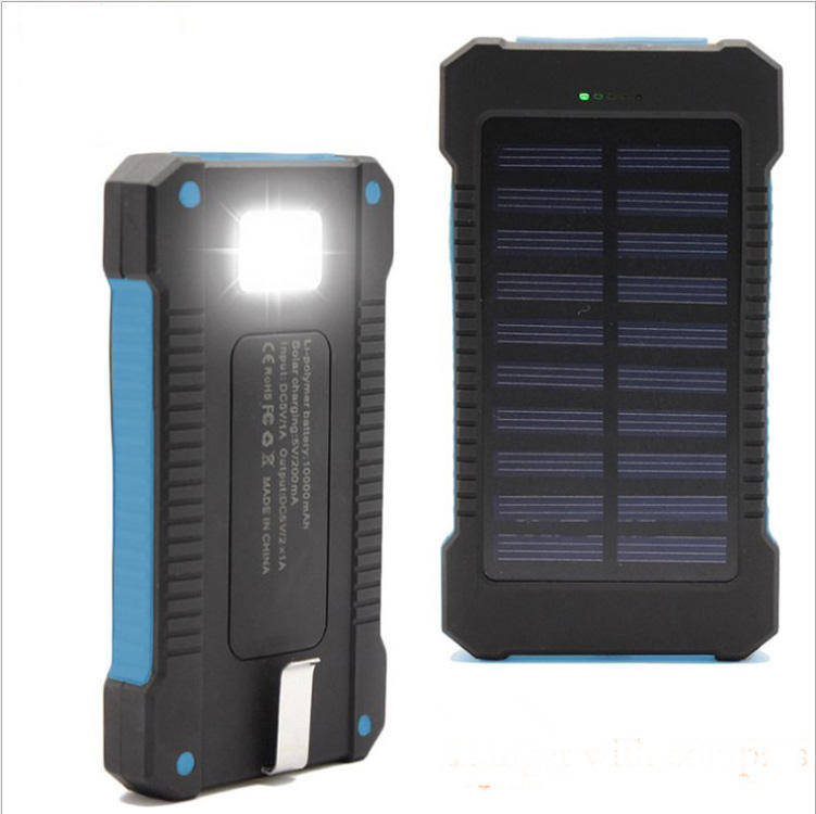 Dual usb portable solar power bank waterproof back up solar power charger 20000mah power bank mobile charger with LED