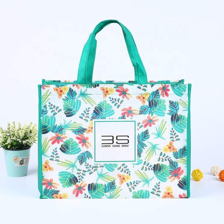 Wholesale Custom Printed Eco Friendly Recycle Reusable Grocery Bag PP Laminated Non Woven Bag Fabric Tote Shopping Bags