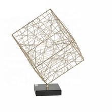 Mayco Table Decor Office Display Metallic Gift Bauble Art Decoration,Geometrical metal Cube Gold sculpture