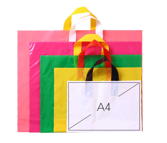 100% Biodegradable Customized Design HDPE LDPE Carrying Bag Shopping Gift Soft loop Handle Plastic Bag