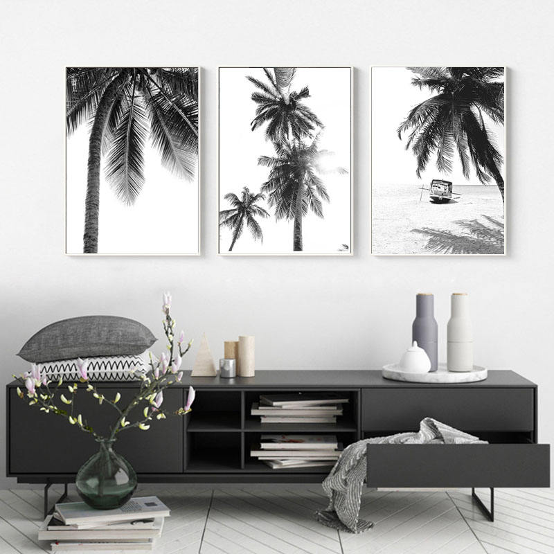 Tropical Landscape Poster Black White Minimalist Wall Picture Beach Canvas Painting Nordic Palm Tree Print Art Home Decor
