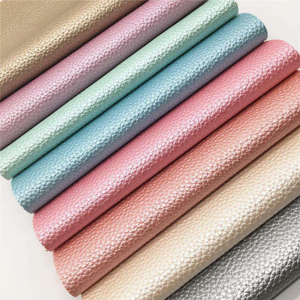 Best Seller A4 Pearly Lustrous Pearlized Lychee Embossed Shiny Faux Leather Sheet Fabric Vinyl For Shoes Bag Bow Crafting