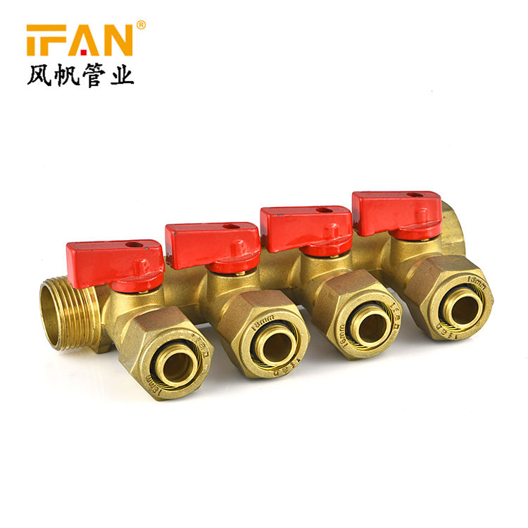 all customized pipe fitting 2-8 ways 3/4 Manifold brass ball valve for home use water distribution with high quality