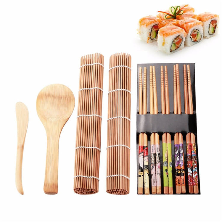 Beginner Homemade Sushi Rolling Tools Gadget Bamboo Sushi Making Kit for Family Office Party