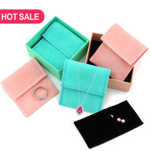 Cheap Candy Color Flap Fabric luxury velvet envelope jewelry pouch black and white velvet pouch packaging jewellery pouches bag