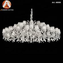Large White Maria Theresa Crystal Pendant Lamps with White Silk-Ribbon Shades