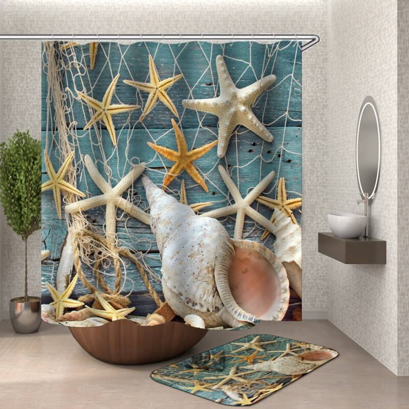 i@home modern sea beach shell printed funny wholesale shower curtains bath polyester and rugs set