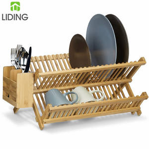 Bamboo Collapsible Dish Drying Rack And Drainer