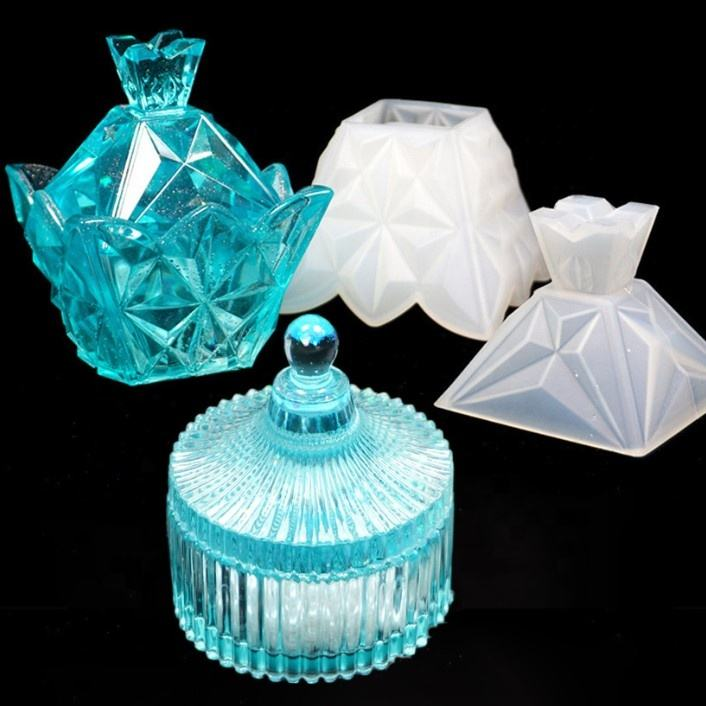 pyramid Resin Trinket Box Molds Silicone Jewelry Storage Box Moulds Gift box Crystal Epoxy UV Resin Heart Shape Cut Molds