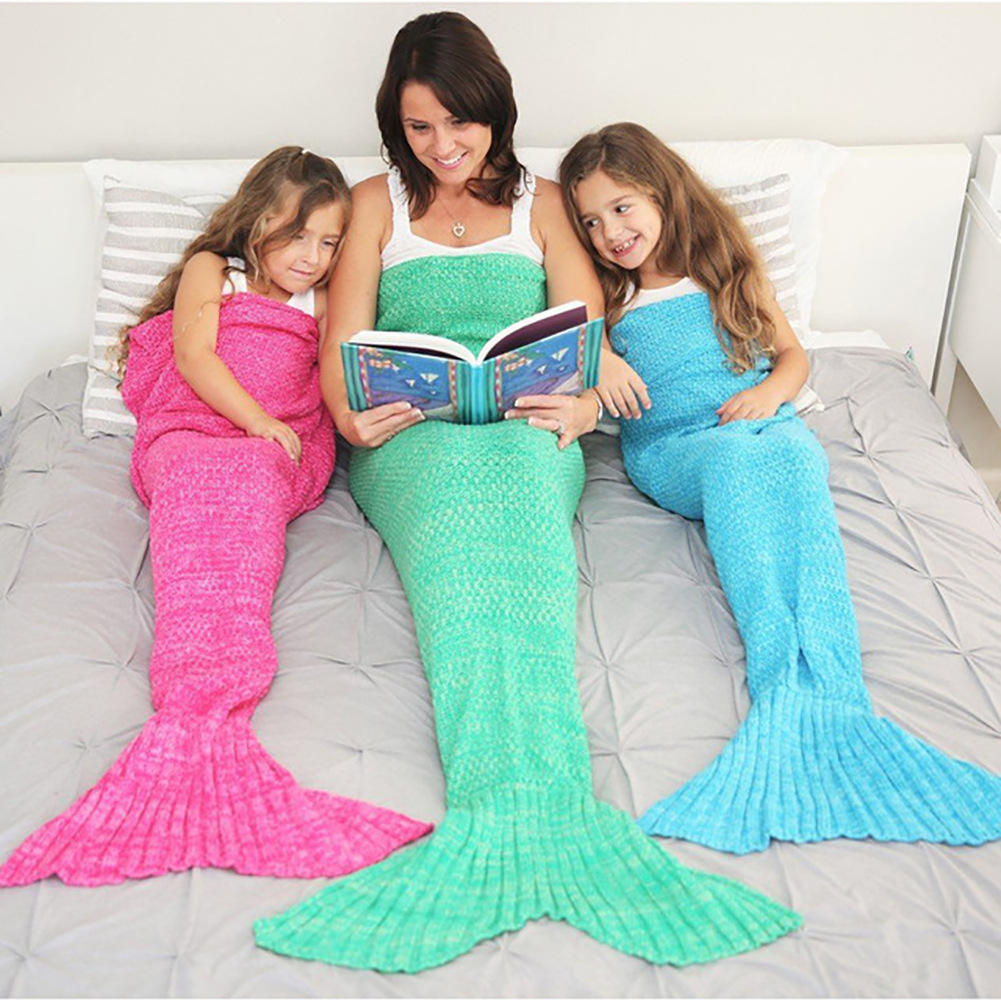 Mermaid Tail Sofa Blanket Simple Wool Knit Blanket