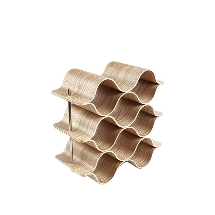 Wholesale 9 Bottles Willow Wooden Cabinet Display Wine Bottle Holder Stand Rack With Label