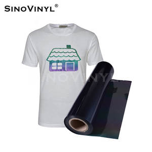 SINOVINYL T-shirt Clothing Textiles Cotton Fabric PU Glitter Rainbow Flash Reflective Sheets Film Hot Press Heat Transfer Vinyl