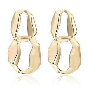 925 Sterling Silver Post Gold Metal Statement Hypoallerge Earrings Double Twisted Circle Round Drop Earrings