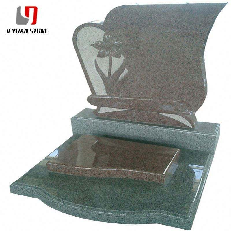 Competitive Price Natural Headstones Headstone With Cross And Flower Carving Red Granite Tombstones For Various Types