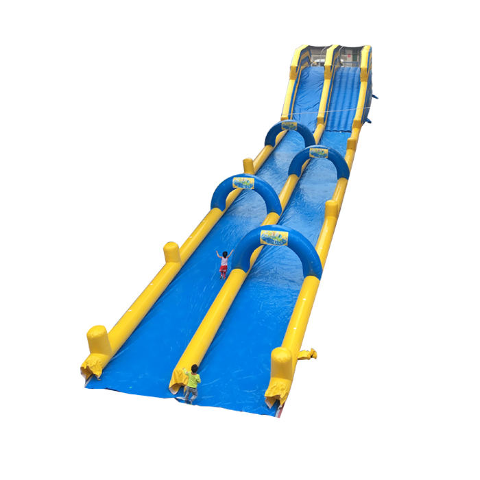 Outdoor Wet Sliding Inflatable Games Long Slope Slip City Slide double lanes or triple lanes according request