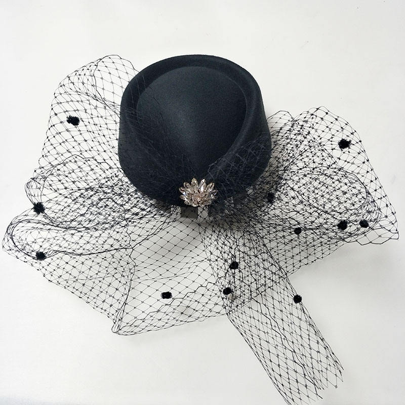 HM264 new design fashion bejeweled metal accessories drop shape fishnet veil felt hat party fascinator