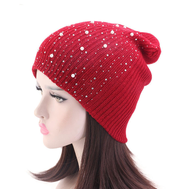 Promotion Unisex Winter Knit Beanie Cap Women Beaded Knitted Beanie Winter Ski Cap TTM-75C