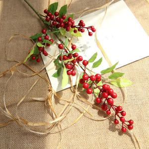 Artificial Foam Long Stem Fruit Berry for Party Christmas Decoration Christmas Red Fruit Berry