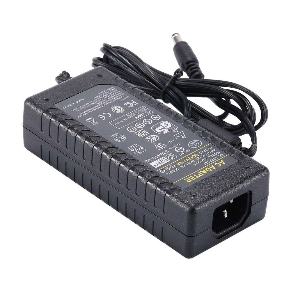 AC Adapter Power Supply 12V 6A 72W Transformer with Tip Size 5.5*2.5mm for LCD Monitor LED Strip Light Wireless Router ADSL Cats