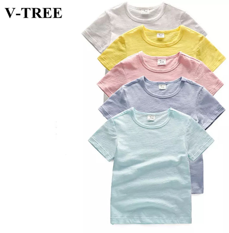 Summer Girls T-shirt Children's clothing Bamboo Cotton Tops For Kids Solid Color Boys Tees 1-8T Toddler baby Clothing 074