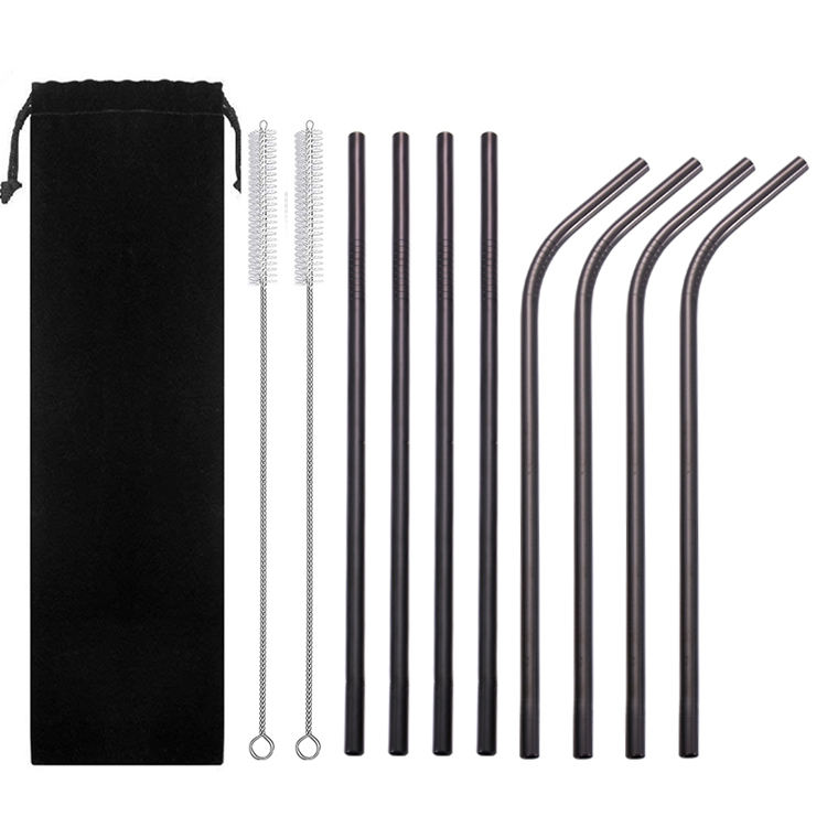 Wholesale Custom 8.5inch 6mm wide Set of 8 Reusable Copper Stainless Steel Drinking Metal Straws