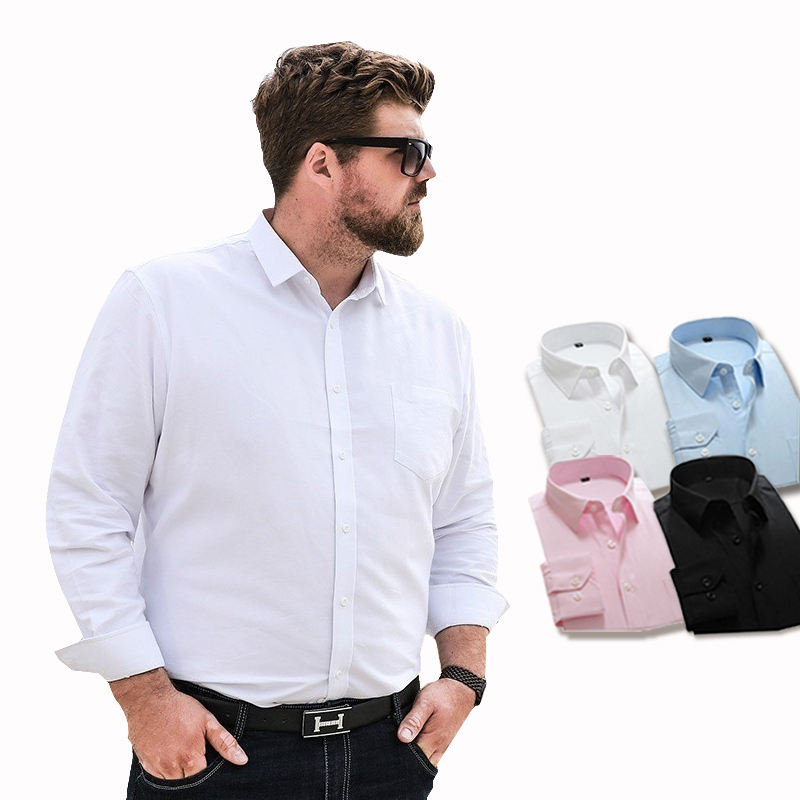 Oversized Lange Mouwen Jurk Shirts Voor Mannen Wit Blauw Zwart Roze Shirt Office Business Formele Plus Size Mannen Shirt