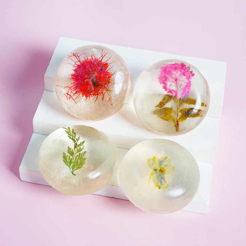 Handmade Transparent Flower Soap for Facial Cleansing Super Moisturizing Nourish Rich In Glycerin Amino Acid Flowers Soap