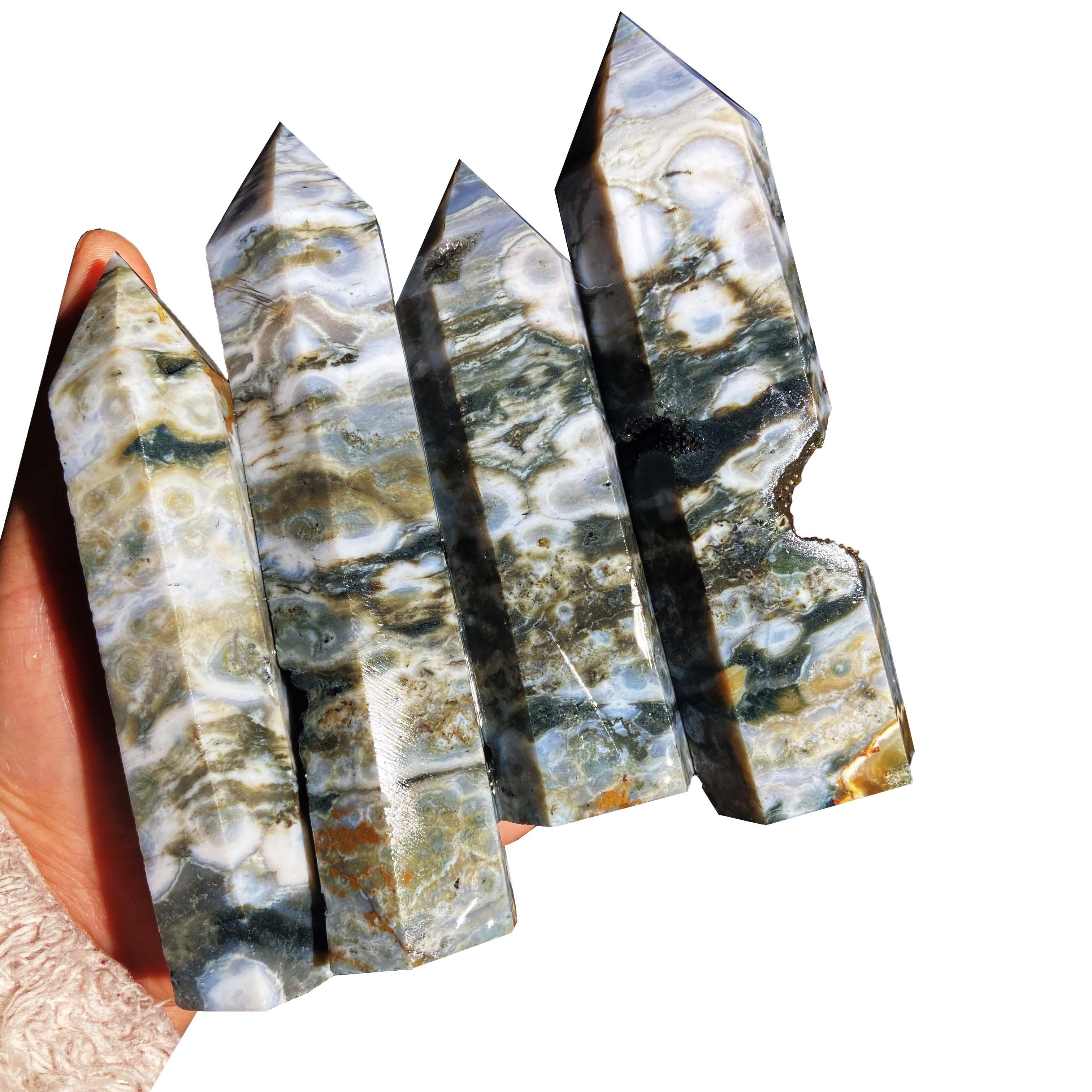 Wholesale Natural High Quality Old Material Quartz Ocean Jasper Towers Healing Crystal Point