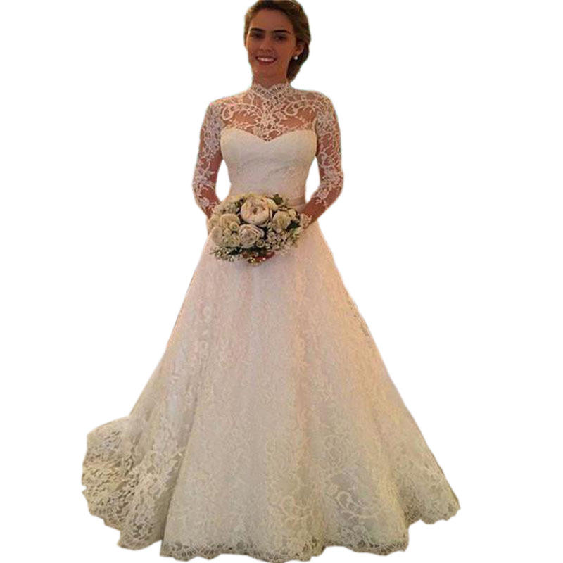 Sexy Transparent boho wedding dress Custom Royal wedding dress Couture Lace long sleeve wedding dress