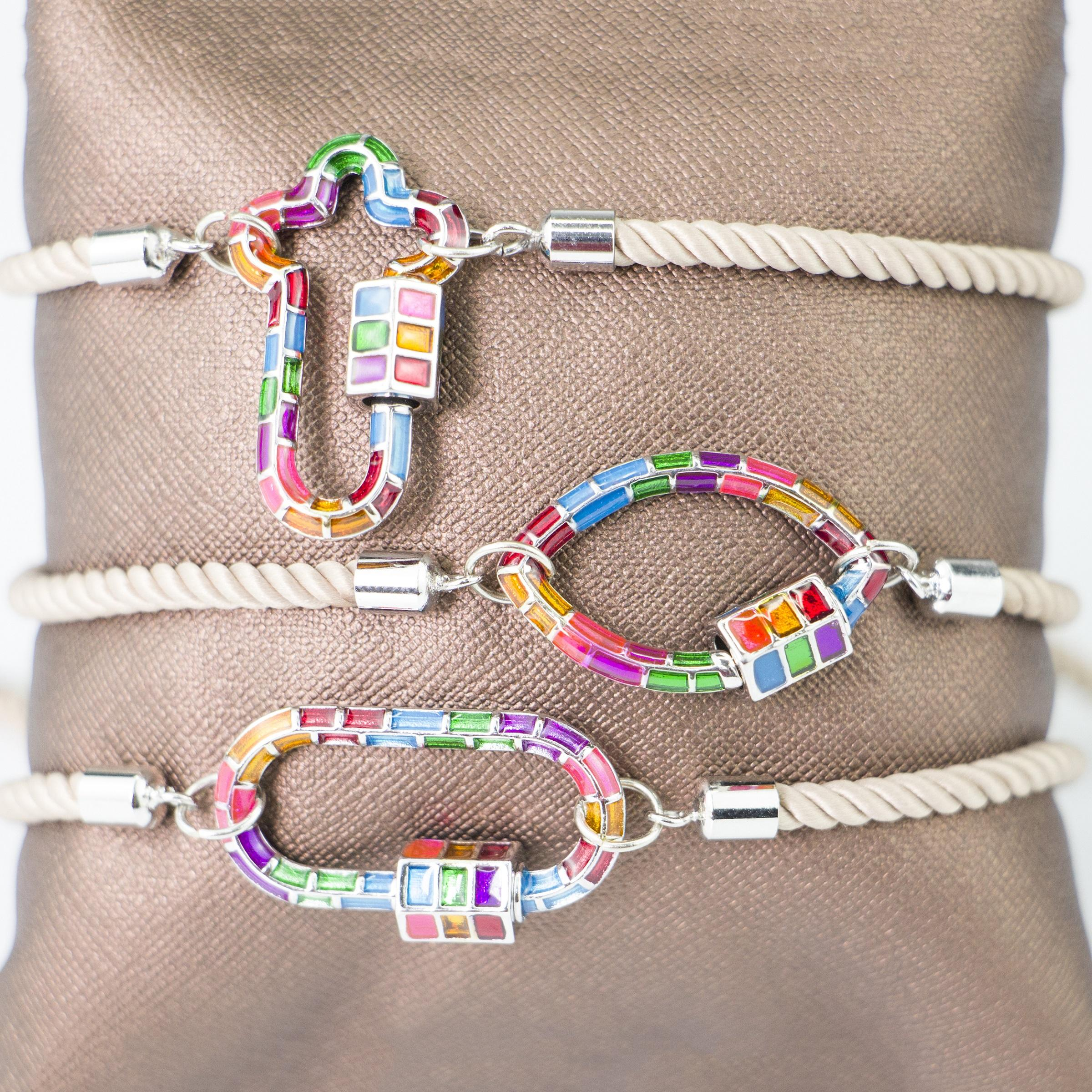 LS-A2264 multi color cross/rectangle shaped clasp cz enamel charm bracelet adjustable rope string bracelet