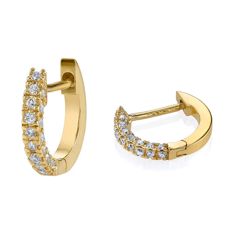 Fine jewellery 18kt gold vermeil cubic dainty huggie earrings