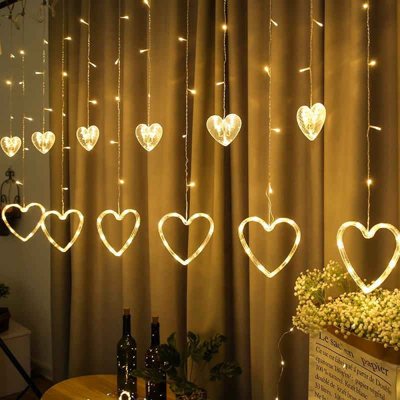 2020 new hot sale Christmas lights outdoor festival decoration stars love lights 6 big 6 small LED light string Luces de navidad