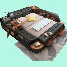 Modern Luxurious Tufted Upholstered Wholesale Multi-functional Smart Leather Bed With Massage and Tatami Double King Size Bunk