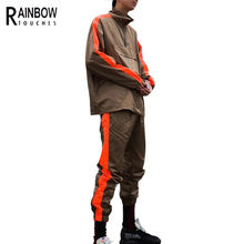 Garment Factory Custom Retro Windbreaker Jacket Pants Mens Nylon Windbreaker Suit