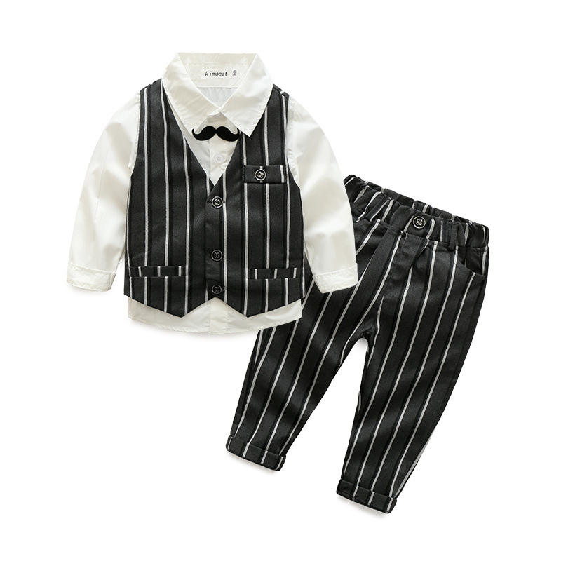 Boy's casual striped vest white shirt and striped trousers three - piece suit