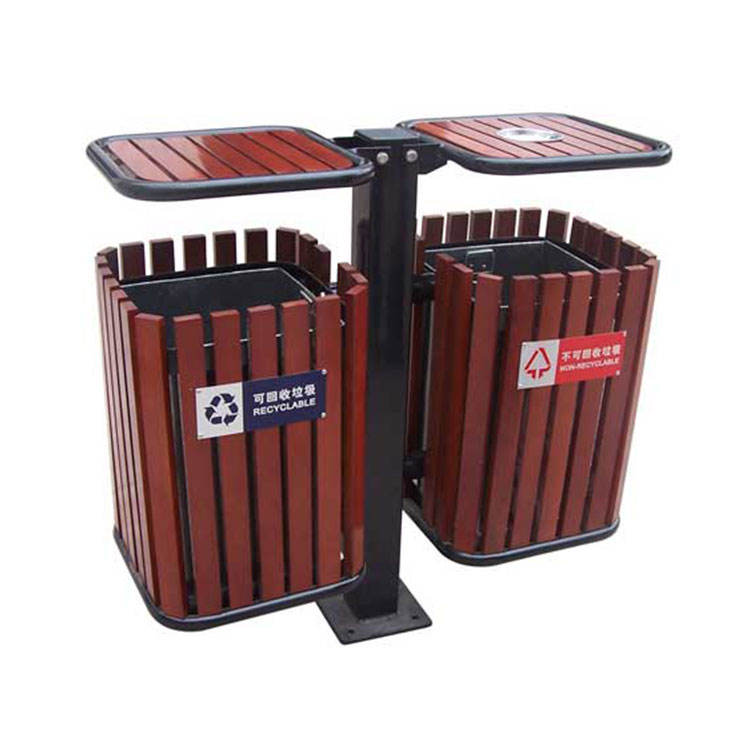 big size outside decoration dual compartment container dustbin manufacturer