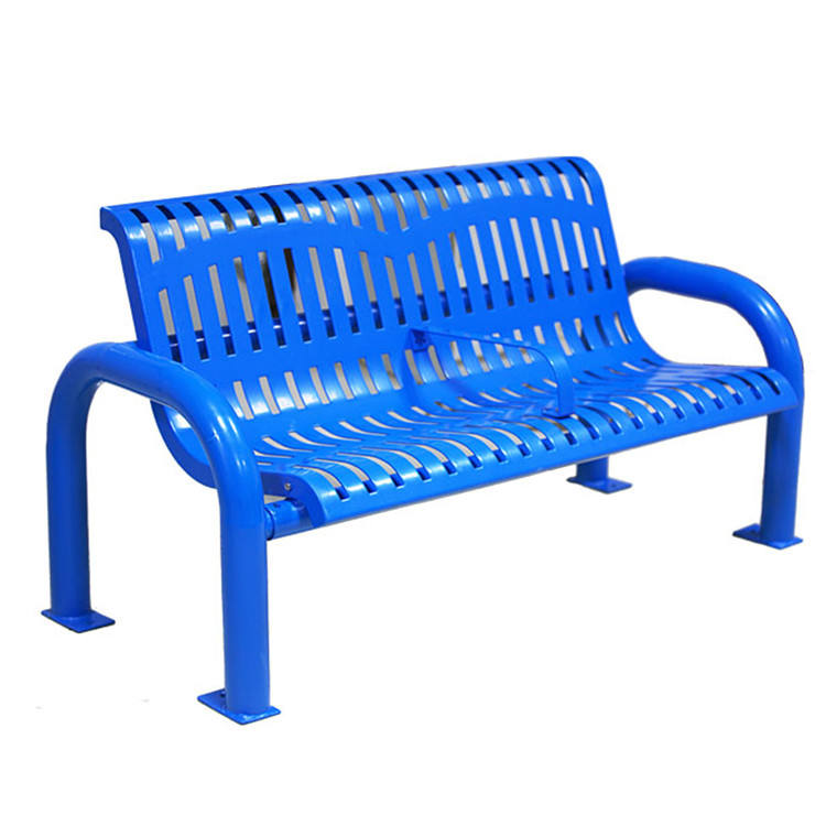 patio furniture public park 2 seater blue metal modern commercial outdoor long chair bench