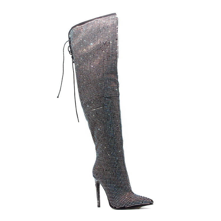Rhinestone Long Boots Women Knee High Heels Boots Sexy Sparkle Bling Over The Knee Thigh High Boots