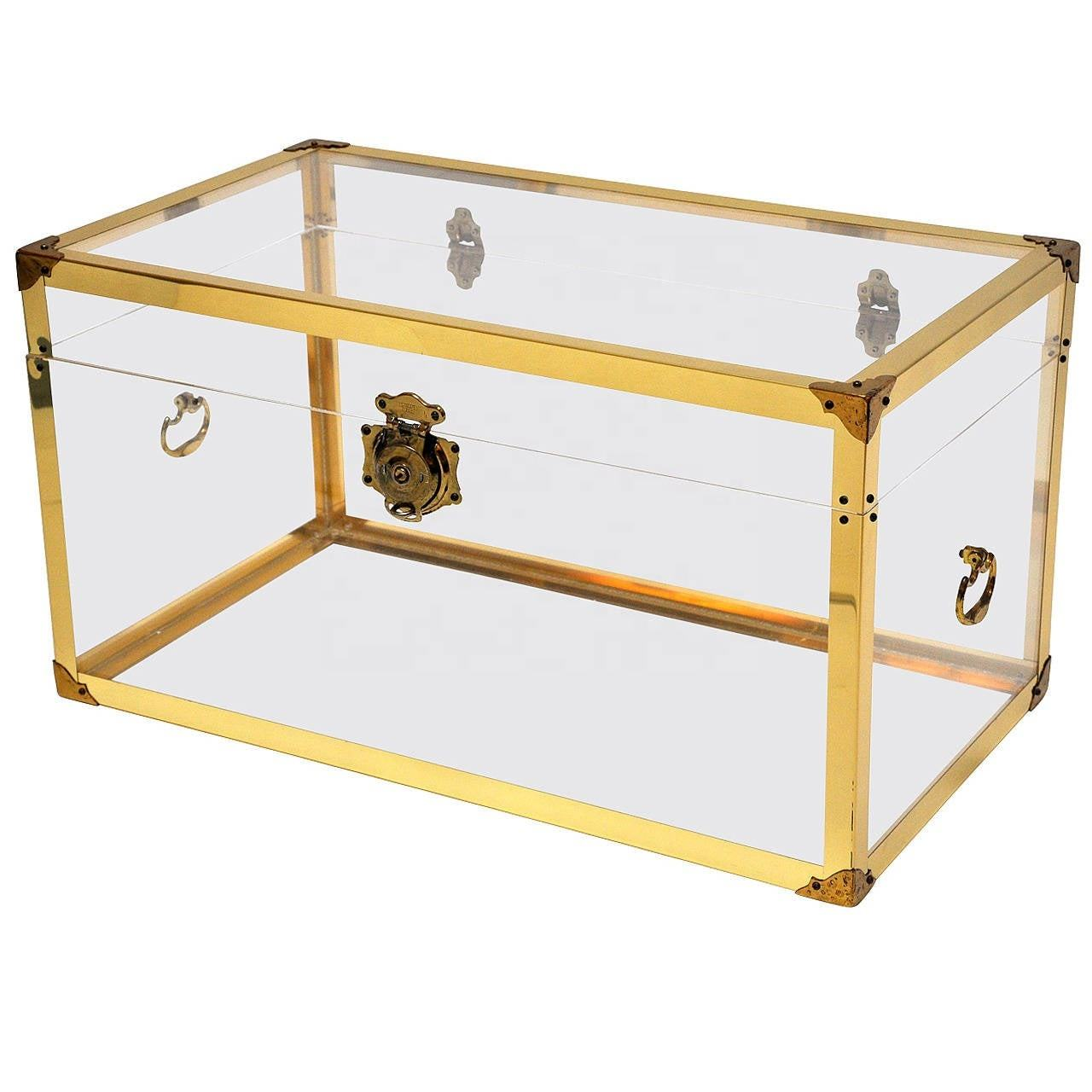 High Luxury Clear Lucite Acrylic Trunk Coffee Table With Brass Metal Corner