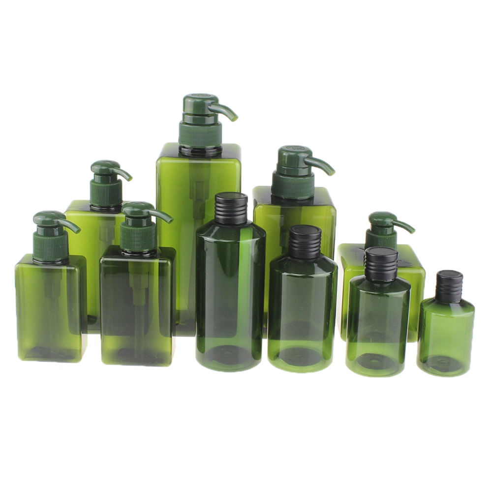 Set 100ml 150ml 250ml 280ml 450ml 650ml Square Green Aluminum Screw Cosmetic Lotion Pump PETG Bottle Plastic Shampoo Bottle