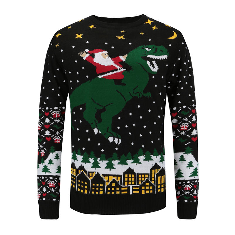 Men fashion wholesale custom knit jumpers jacquard pullover ugly christmas sweater