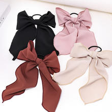 LRT Wholesale Custom Fashion Women Chiffon Rubber Band Bow Ribbon Hair Clips Plain Big Butterfly Bowknot Hair Bows For Girls