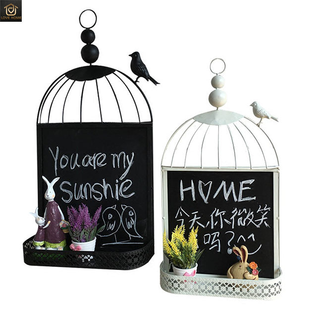 Retro european style birdcage diy blackboard message board tea shop cafe bar restaurant wall hanging wall decoration
