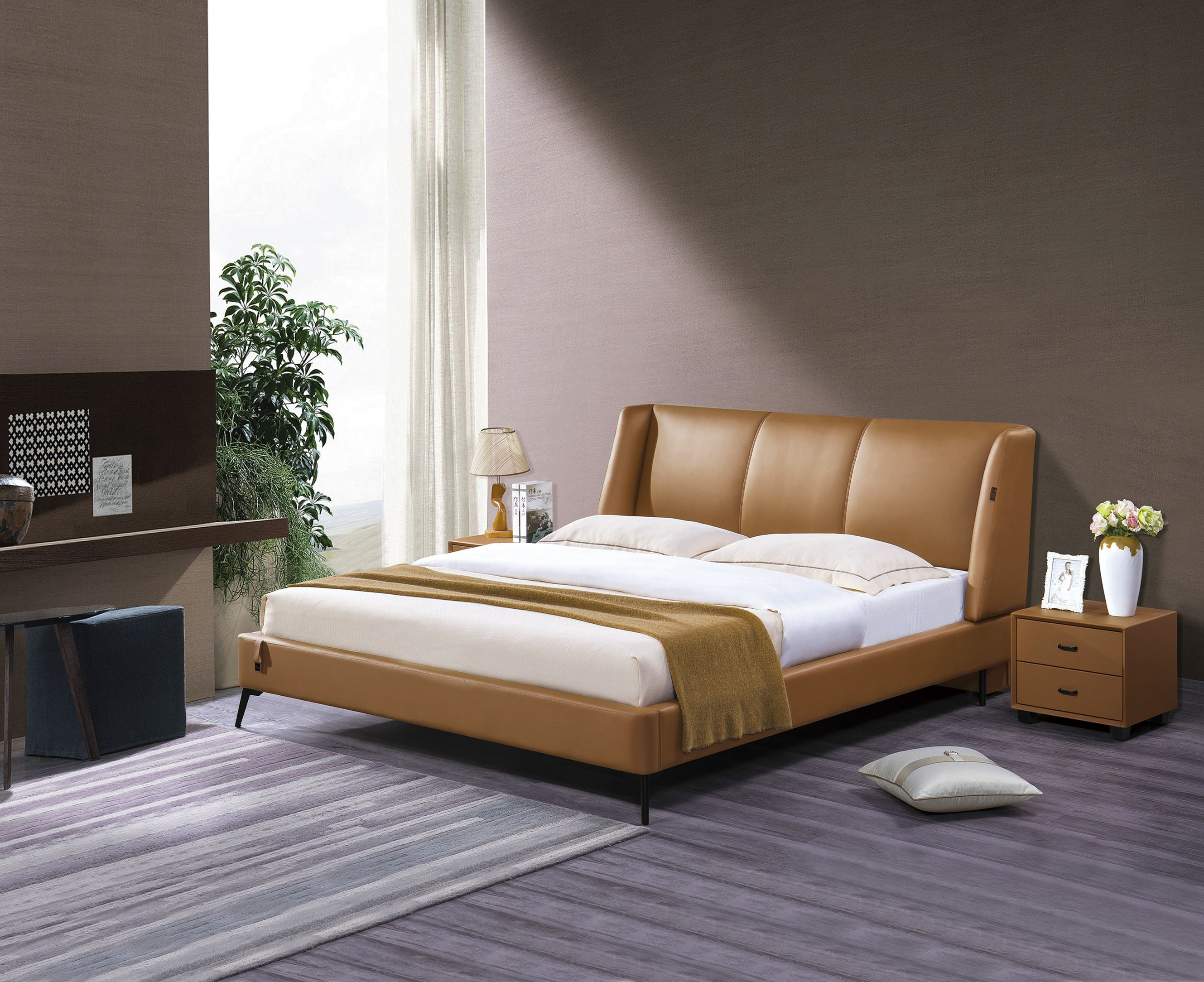 Italian Style Modern Design Leather With Good Quality Soft Bed