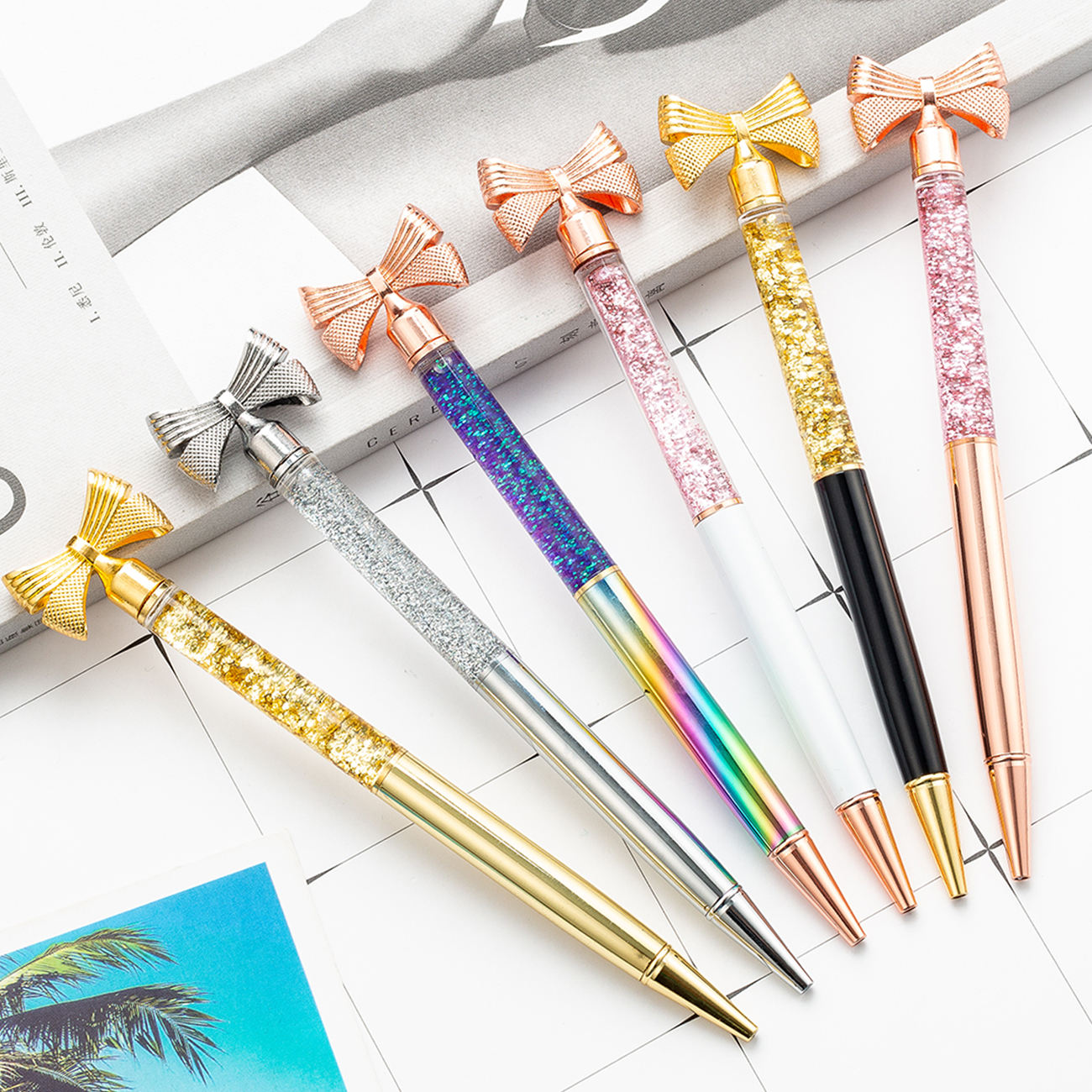 New Design Butterfly Bow Glitter Liqiuid Sand Foil Metal Ball Pen with Promotional Gift Bow Pen With Logo