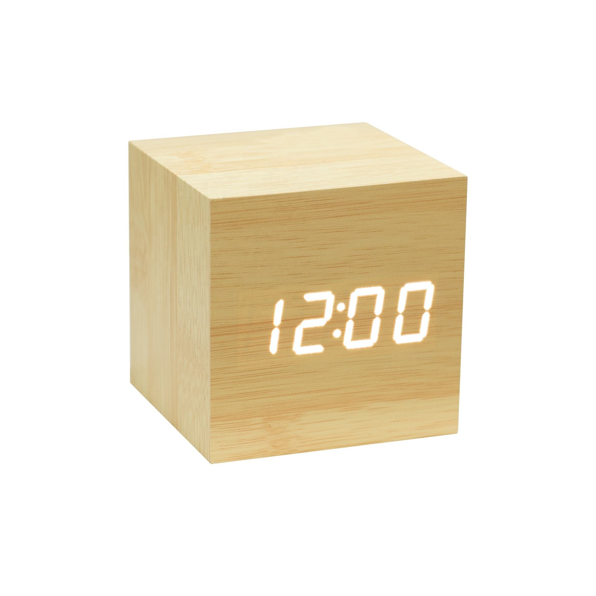KH-WC001 Office Electronic Digital Cube Wooden LED Alarm Clock With Time Temperature Date Display
