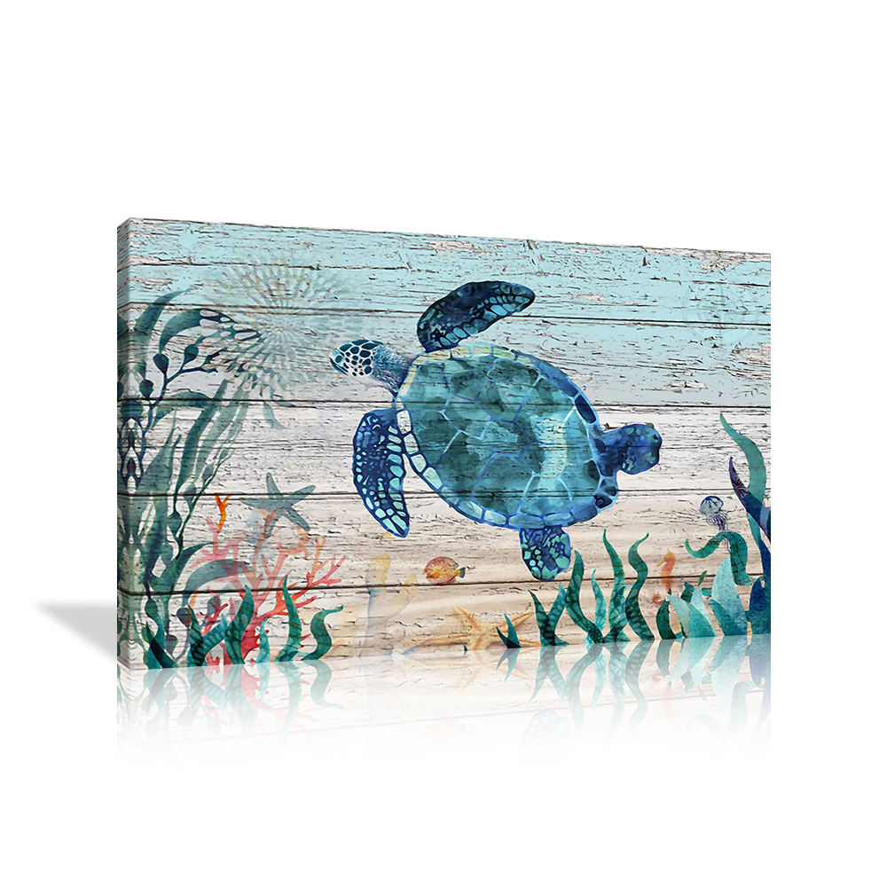 Wall Art Bathroom Blue Ocean Pictures Coastal Beach Canvas Paintings Teal Sea Turtle Wall Decor Buy High Quality Bathroom Wall Decor Teal Sea Turtle Wall Decor Bathroom Wall Art Ocean Decor Canvas Prints